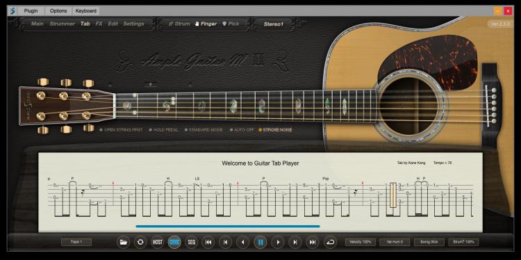 Ample Guitar M II Tab Panel