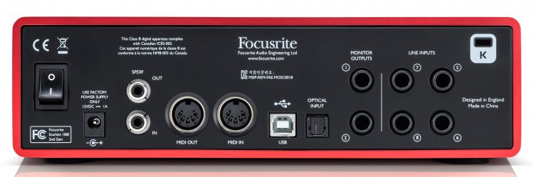 Focusrite Scarlett - 18i8_rear