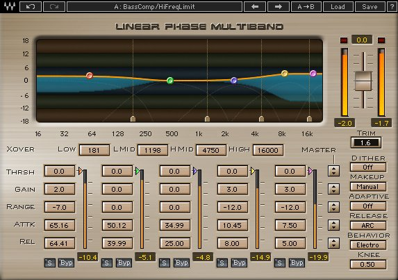 I Migliori Plugins Waves Audio per il Mastering - wave linear-phase-multiband-compressor