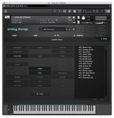 Output Analog Strings - Preset Menu