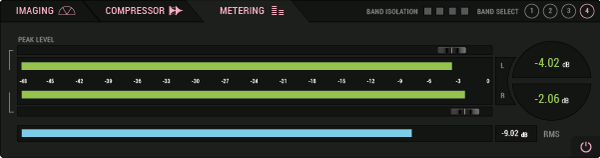 SoundSpot Axis- Compressore Multibanda per Mixaggio e Mastering - metering