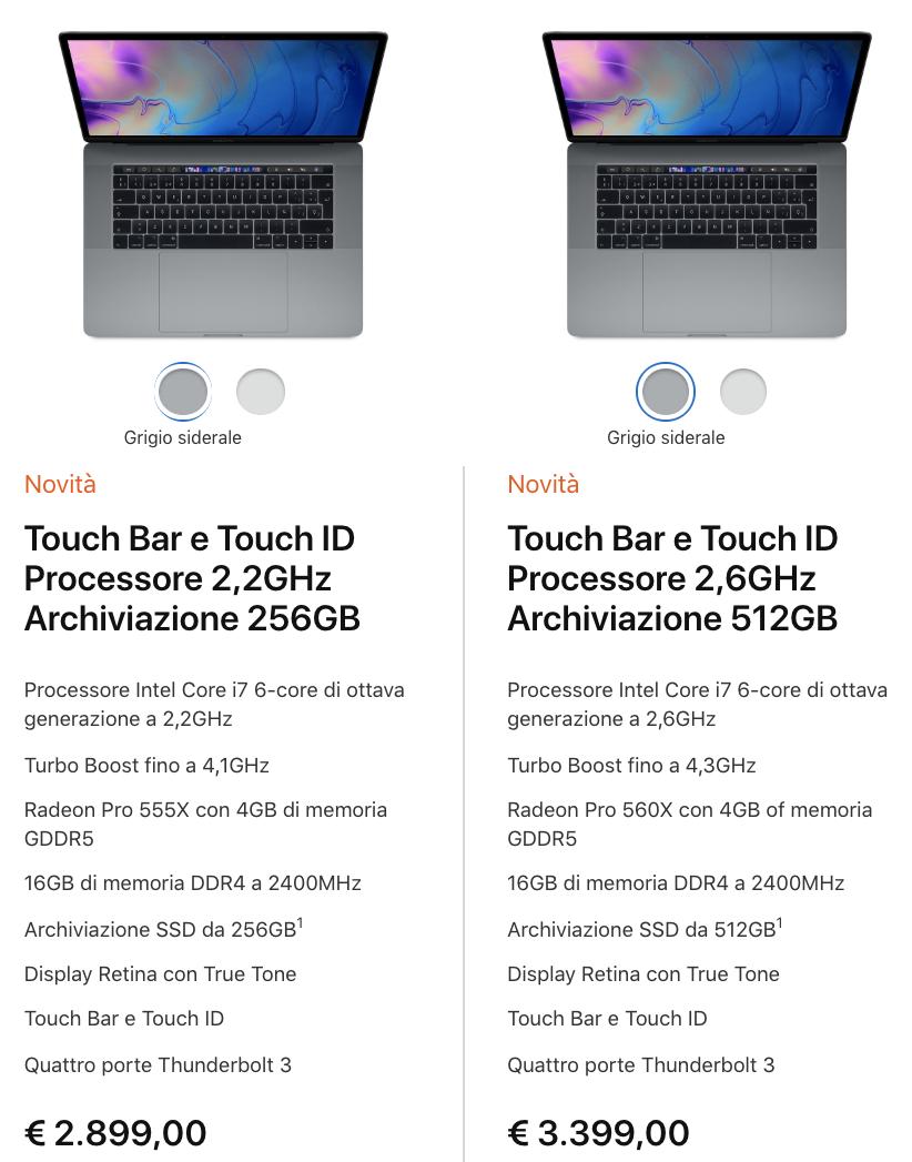 MacBook Pro 15 - configurazioni