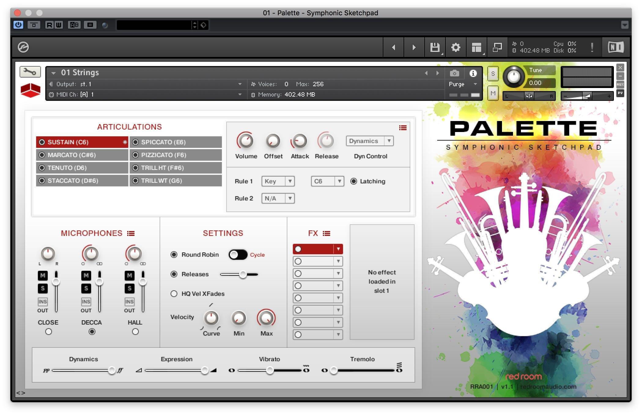 Palette Symphonic Sketchpad - interfaccia