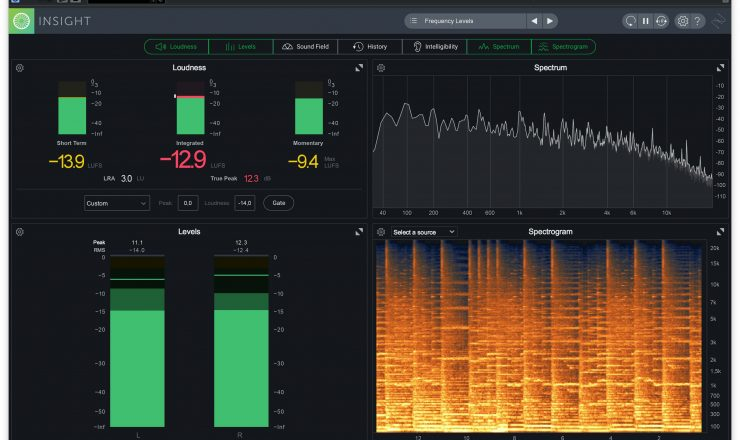 iZotope Insight 2 – loudness levels spectrum spectrgram