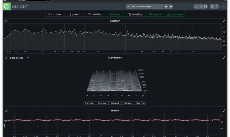 iZotope Insight 2 – spectrum spectrogram history