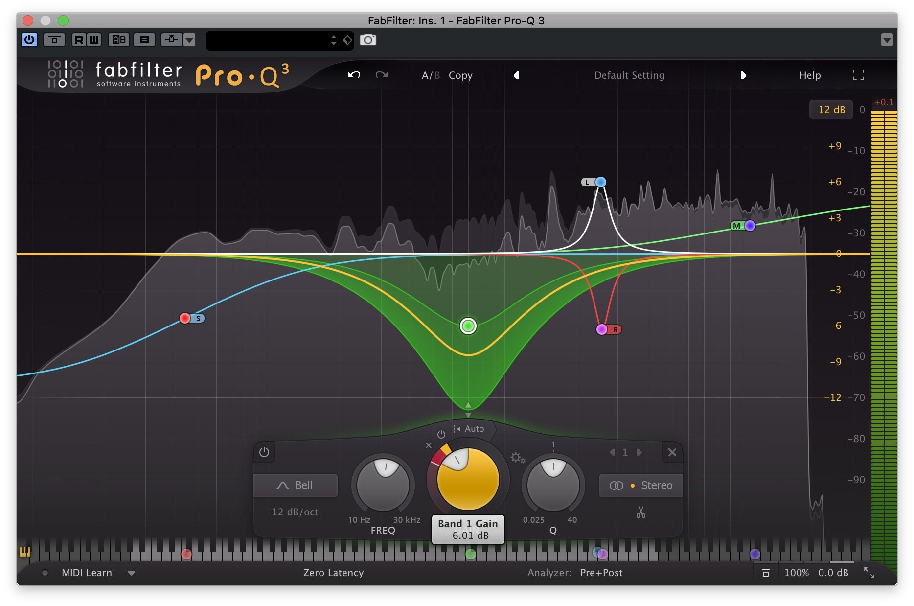FabFilter Pro-Q 3 - Bande Stereo, Mono LR, Mid, Side